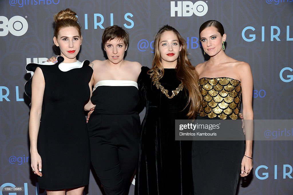<a gi-track='captionPersonalityLinkClicked' href=/galleries/search?phrase=Zosia+Mamet&family=editorial&specificpeople=7439328 ng-click='$event.stopPropagation()'>Zosia Mamet</a>, <a gi-track='captionPersonalityLinkClicked' href=/galleries/search?phrase=Lena+Dunham&family=editorial&specificpeople=5836535 ng-click='$event.stopPropagation()'>Lena Dunham</a>, <a gi-track='captionPersonalityLinkClicked' href=/galleries/search?phrase=Jemima+Kirke&family=editorial&specificpeople=7327464 ng-click='$event.stopPropagation()'>Jemima Kirke</a> and <a gi-track='captionPersonalityLinkClicked' href=/galleries/search?phrase=Allison+Williams&family=editorial&specificpeople=594198 ng-click='$event.stopPropagation()'>Allison Williams</a> attend the Premiere Of 'Girls' Season 2 Hosted By HBO at NYU Skirball Center on January 9, 2013 in New York City.