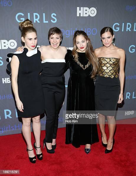 Zosia Mamet Lena Dunham Jemima Kirke and Allison Williams attend the HBO 'Girls' Season 2 premiere at the NYU Skirball Center on January 9 2013 in...