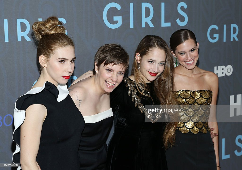 <a gi-track='captionPersonalityLinkClicked' href=/galleries/search?phrase=Zosia+Mamet&family=editorial&specificpeople=7439328 ng-click='$event.stopPropagation()'>Zosia Mamet</a>, <a gi-track='captionPersonalityLinkClicked' href=/galleries/search?phrase=Lena+Dunham&family=editorial&specificpeople=5836535 ng-click='$event.stopPropagation()'>Lena Dunham</a>, <a gi-track='captionPersonalityLinkClicked' href=/galleries/search?phrase=Jemima+Kirke&family=editorial&specificpeople=7327464 ng-click='$event.stopPropagation()'>Jemima Kirke</a> and <a gi-track='captionPersonalityLinkClicked' href=/galleries/search?phrase=Allison+Williams+-+Actress&family=editorial&specificpeople=594198 ng-click='$event.stopPropagation()'>Allison Williams</a> attend the HBO 'Girls' Season 2 premiere at the NYU Skirball Center on January 9, 2013 in New York City.