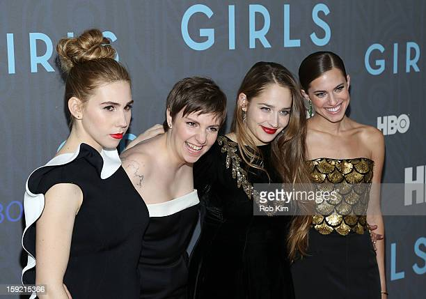 Zosia Mamet Lena Dunham Jemima Kirke and Allison Williams attend the HBO 'Girls' Season 2 premiere at the NYU Skirball Center on January 9 2013 in...
