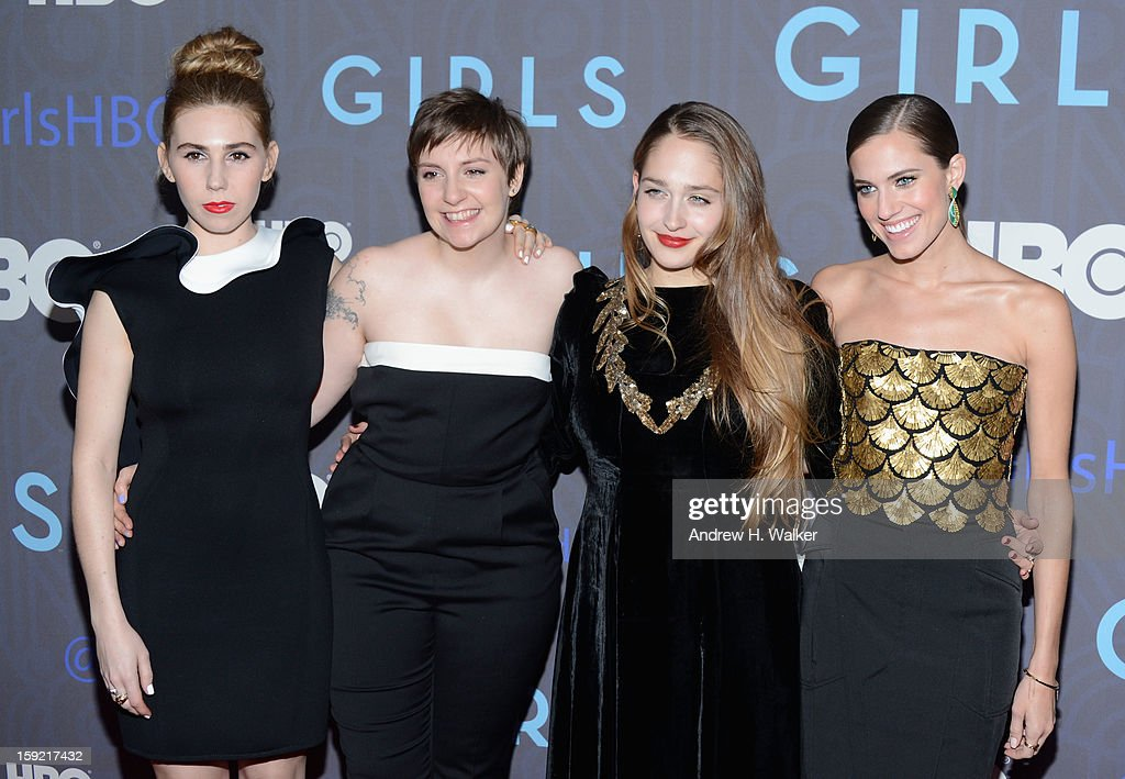 Zosia Mamet Lena Dunham Jemima Kirke and Allison Williams attend the Premiere Of 'Girls' Season 2 Hosted By HBO at NYU Skirball Center on January 9...
