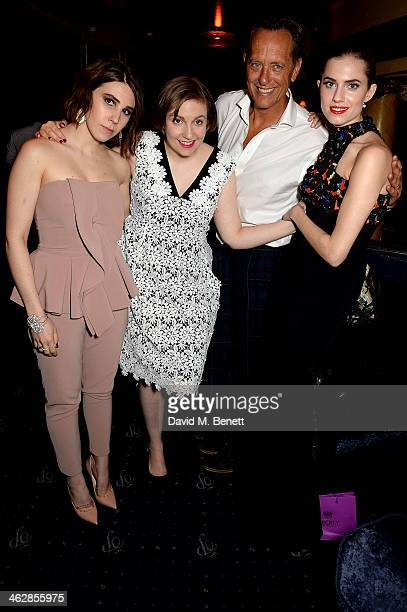 Zosia Mamet Lena Dunham Richard E Grant and Allison Williams attend an after party following the UK premiere of 'Girls Season 3' at Cafe de Paris on...
