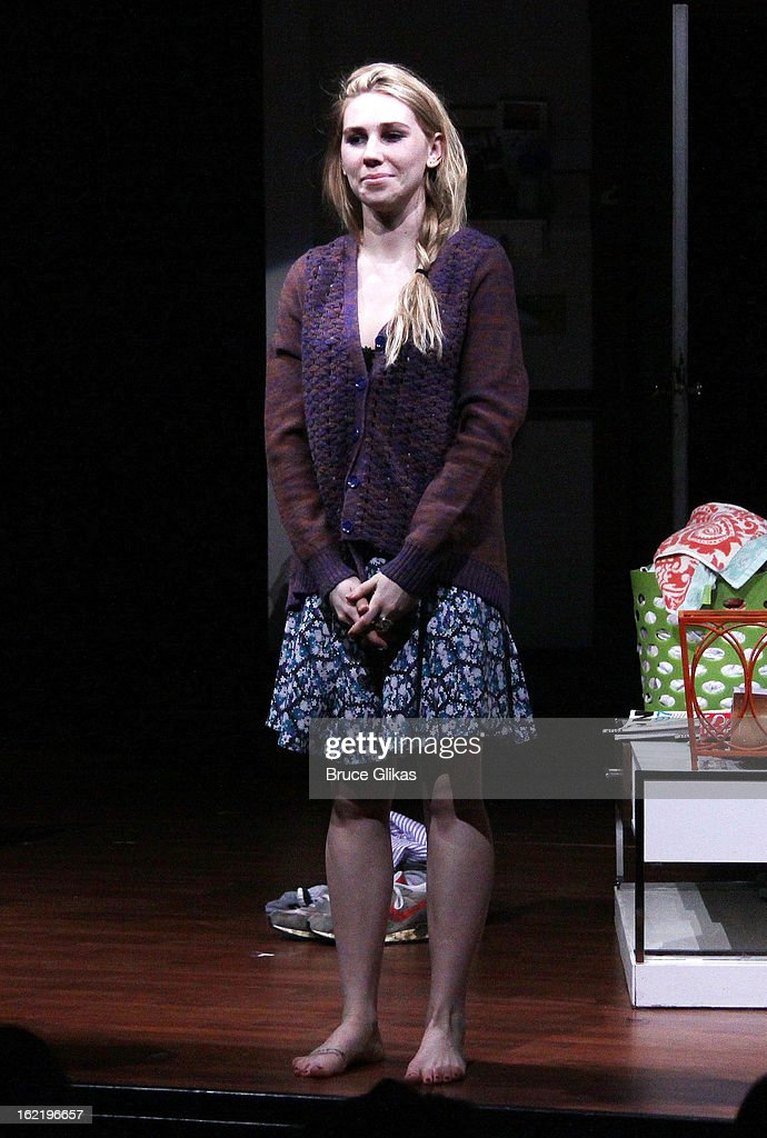 <a gi-track='captionPersonalityLinkClicked' href=/galleries/search?phrase=Zosia+Mamet&family=editorial&specificpeople=7439328 ng-click='$event.stopPropagation()'>Zosia Mamet</a> takes her curtain call in 'Really, Really' on Opening Night at the Lucille Lortel Theatre on February 19, 2013 in New York, United States.