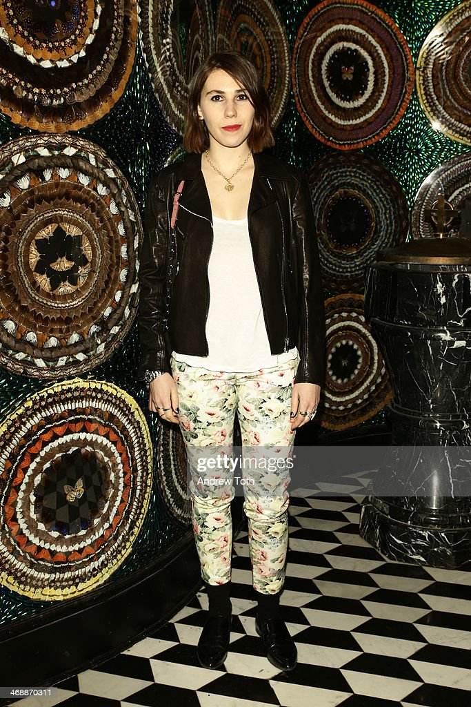 <a gi-track='captionPersonalityLinkClicked' href=/galleries/search?phrase=Zosia+Mamet&family=editorial&specificpeople=7439328 ng-click='$event.stopPropagation()'>Zosia Mamet</a> wearing Miu Miu at Miu Miu Women's Tales 7th Edition - 'Spark & Light' Screening - Inside at Diamond Horseshoe on February 11, 2014 in New York City.