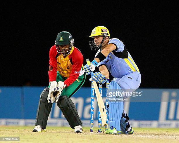 Zouks South African overseas player Herschelle Gibbs in action during the Seventh Match of the Cricket Caribbean Premier League between Guyana Amazon...