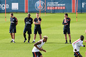 Zoumana Camara Nicolas Mayer and Unai Emery during Paris Saint Germain First Training Session on July 4 2016 in Camp des Loges SaintGermainenLaye...