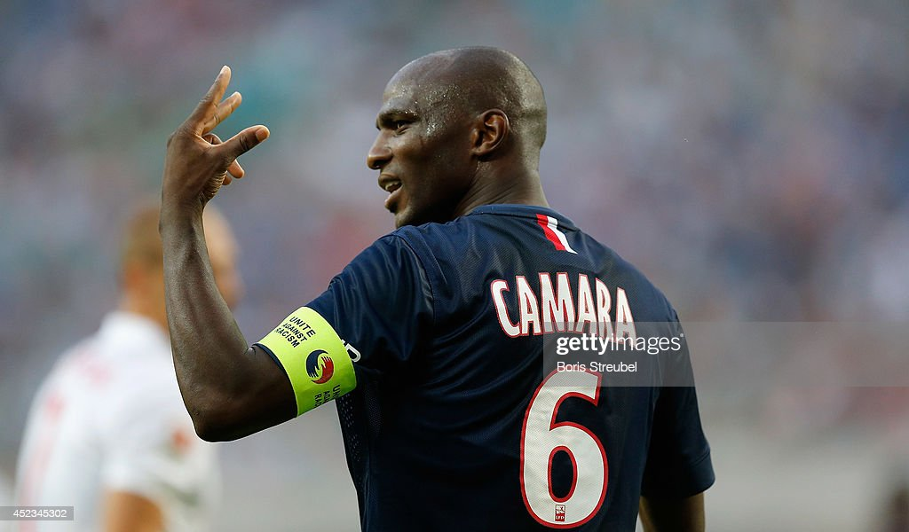 <a gi-track='captionPersonalityLinkClicked' href=/galleries/search?phrase=Zoumana+Camara&family=editorial&specificpeople=729000 ng-click='$event.stopPropagation()'>Zoumana Camara</a> of Paris gestures during the pre season friendly match between RB Leipzig and Paris Saint-Germain at Red Bull Arena on July 18, 2014 in Leipzig, Germany.