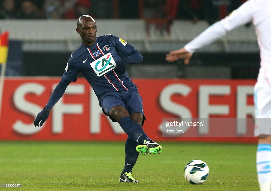 <a gi-track='captionPersonalityLinkClicked' href=/galleries/search?phrase=Zoumana+Camara&family=editorial&specificpeople=729000 ng-click='$event.stopPropagation()'>Zoumana Camara</a> of PSG in action during the French Cup match between Paris Saint Germain FC and Olympique de Marseille OM at the Parc des Princes stadium on February 27, 2013 in Paris, France.