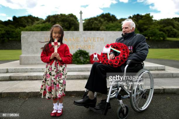 Zowie Brown aged six whose great grandfather was a pardoned Irish soldier at the Irish National Irish War Memorial in Islandbridge Dublin with World...