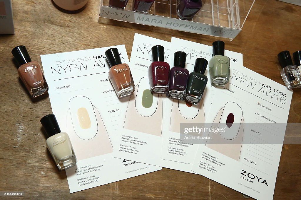 Zoya nail polish on display at TRESemme at Mara Hoffman A/W16 Presentation at High Line Hotel, The Refectory on February 13, 2016 in New York City.