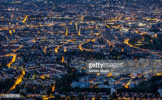 Zürich at night aerial view