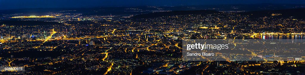 Zürich at night Panorama Aerial View : Foto de stock
