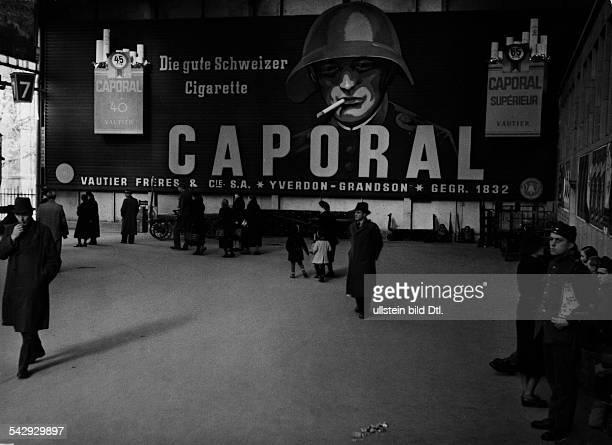 Zürich Zigarettenreklame auf dem Züricher Hauptbahnhof 1932