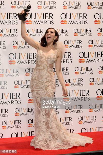 Zrinka Cvitesic with her Best Actress in a Musical award for Once during the Laurence Olivier Awards at the Royal Opera House on April 13 2014 in...