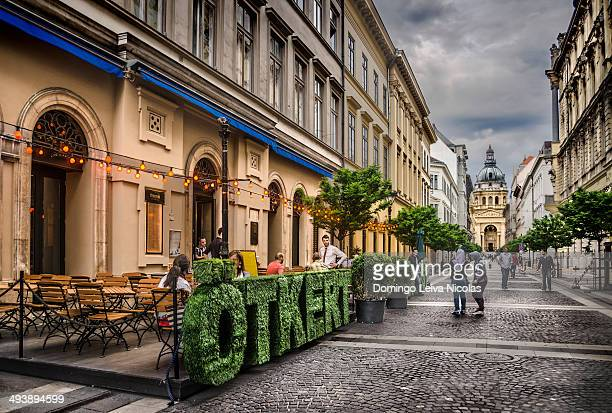 CONTENT] Zrinyi street with St Stephen Basilica at the end budapest