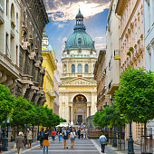 Budapest. Hungary. Zrinyi Utca street and Saint Stephen`s Basilica.