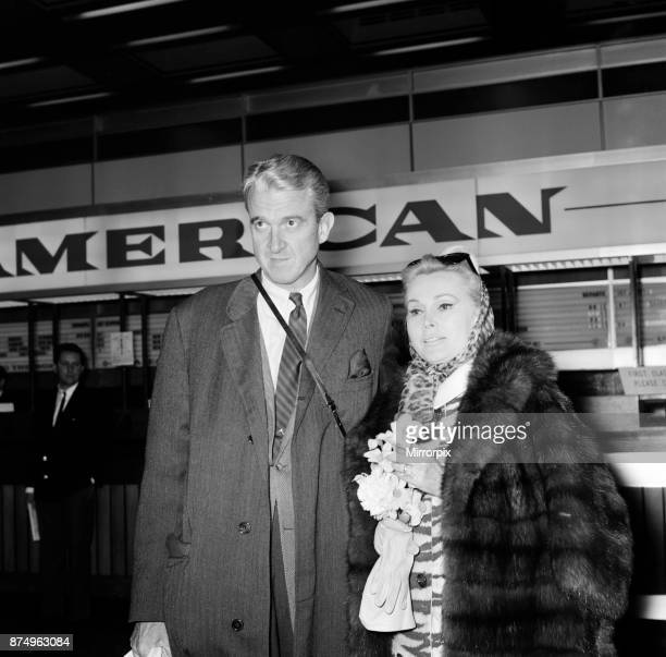 Zsa Zsa Gabor and her husband Joshua S Cosden at London Airport 4th April 1966