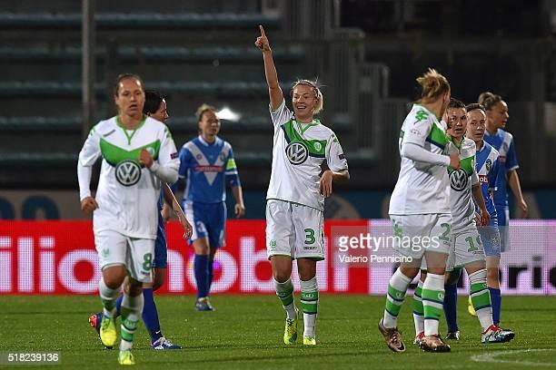 Zsanett Jakabfi of Wolfsburg celebrates after scoring the opening goal during the UEFA Women's Champions League Quarter Final match between Brescia...