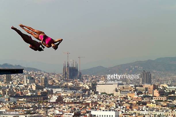 Zsofia Reisinger and Gyongyver Villo Kormos of Hungary compete in the Women's 10m Platform Synchronised Diving final on day three of the 15th FINA...