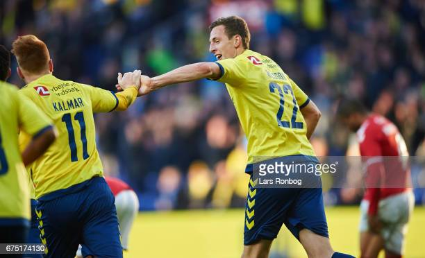 Zsolt Kalmar and Gustaf Nilsson of Brondby IF celebrate after scoring their first goal during the Danish Alka Superliga match between Brondby IF and...
