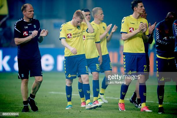 Zsolt Kalmar Christian Norgaard Hjortur Hermannsson and Gustaf Nilsson of Brondby IF looking dejected after the Danish Cup Final DBU Pokalen match...