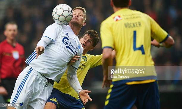 Zsolt Kalmar of Brondby IF and Christian Norgaard of Brondby IF compete for the ball during the Danish Alka Superliga match between FC Copenhagen and...
