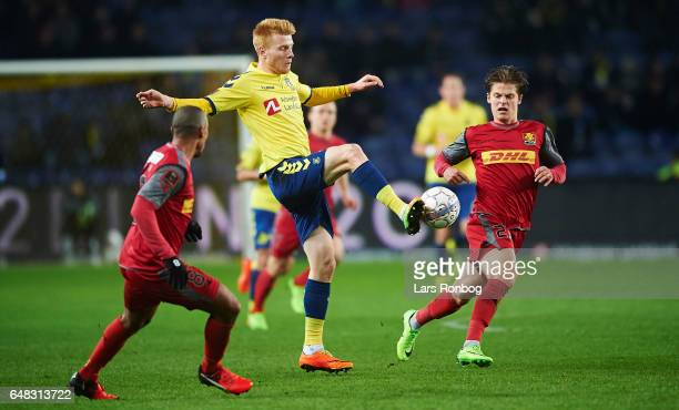 Zsolt Kalmar of Brondby IF controls the ball during the Danish Alka Superliga match between Brondby IF and FC Nordsjalland at Brondby Stadion on...