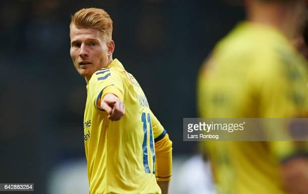 Zsolt Kalmar of Brondby IF gestures during the Danish Alka Superliga match between FC Copenhagen and Brondby IF at Telia Parken Stadium on February...