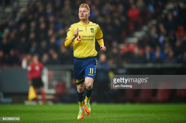 Zsolt Kalmar of Brondby IF in action during the Danish Alka Superliga match between FC Copenhagen and Brondby IF at Telia Parken Stadium on February...
