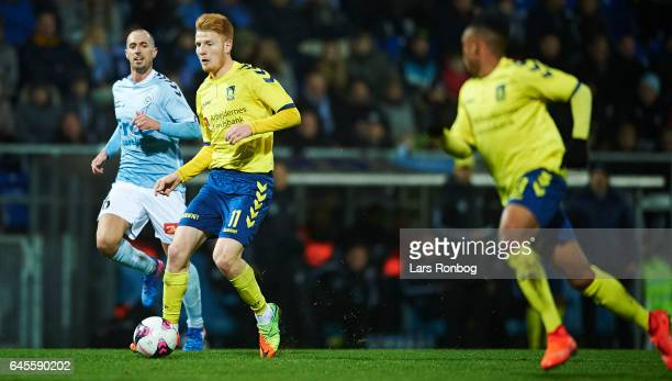 Zsolt Kalmar of Brondby IF in action during the Danish Alka Superliga match match between Sonderjyske and Brondby IF at Sydbank Park on February 26...