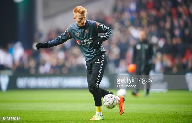 Zsolt Kalmar of Brondby IF warming up prior to the Danish Alka Superliga match between FC Copenhagen and Brondby IF at Telia Parken Stadium on...