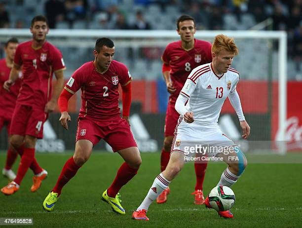 Zsolt Kalmar of Hungary controls the ball during the FIFA U20 World Cup New Zealand 2015 Round of 16 match between Serbia and Hungary at Otago...