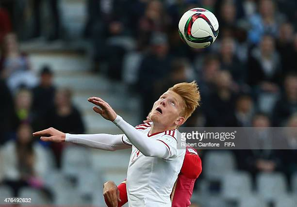 Zsolt Kalmar of Hungary heads the ball during the FIFA U20 World Cup New Zealand 2015 Round of 16 match between Serbia and Hungary at Otago Stadium...