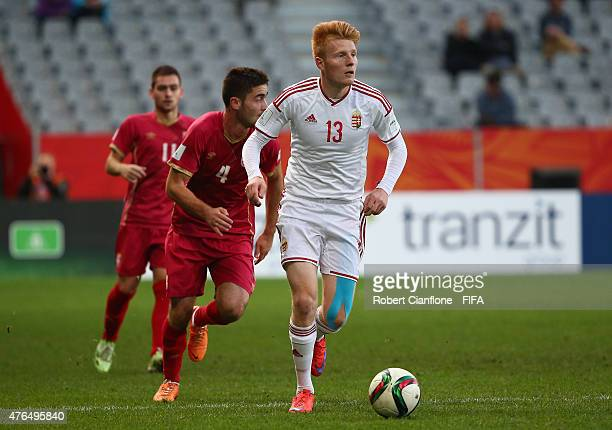 Zsolt Kalmar of Hungary runs with the ball during the FIFA U20 World Cup New Zealand 2015 Round of 16 match between Serbia and Hungary at Otago...