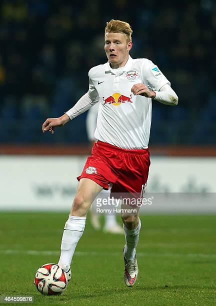 Zsolt Kalmar of Leipzig runs with the ball during the 2 Bundesliga match between Eintracht Braunschweig and RB Leipzig at Eintracht Stadion on...