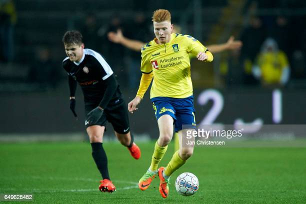 Zsolt Kalmár of Brondby IF controls the ball during the Danish Cup DBU Pokalen match between BK Marienlyst and Brondby IF at Brondby Stadion on March...
