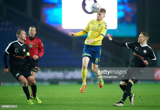 Zsolt Kalmár of Brondby IF heading the ball during the Danish Cup DBU Pokalen match between BK Marienlyst and Brondby IF at Brondby Stadion on March...