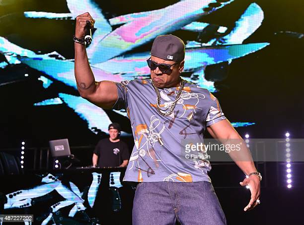 Trip and LL Cool J perform during KBLX Hot Summer Night at Concord Pavilion on September 6 2015 in Concord California