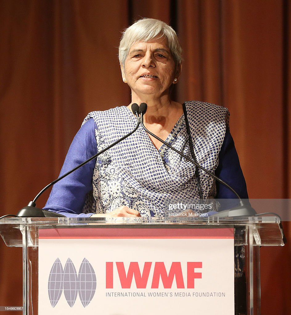 Zubeida Mustafa speaks during the 2012 International Women's Media Foundation's Courage In Journalism Awards at The Beverly Hills Hotel on October 29, 2012 in Beverly Hills, California.
