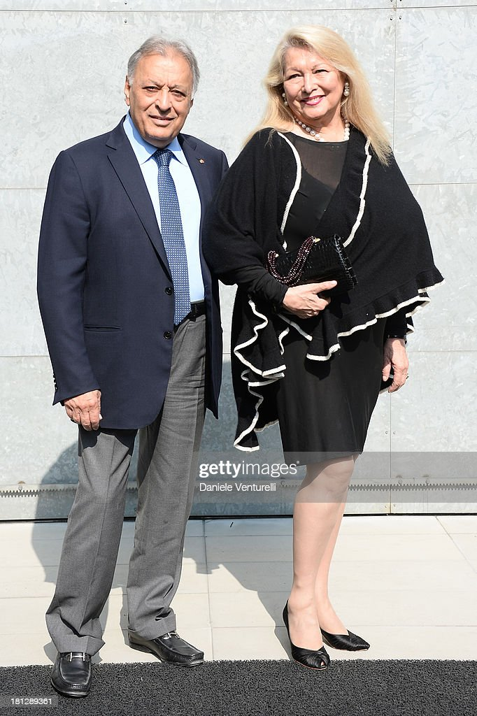 <a gi-track='captionPersonalityLinkClicked' href=/galleries/search?phrase=Zubin+Mehta&family=editorial&specificpeople=548623 ng-click='$event.stopPropagation()'>Zubin Mehta</a> and Nancy Mehta attend the Emporio Armani show as a part of Milan Fashion Week Womenswear Spring/Summer 2014 on September 20, 2013 in Milan, Italy.
