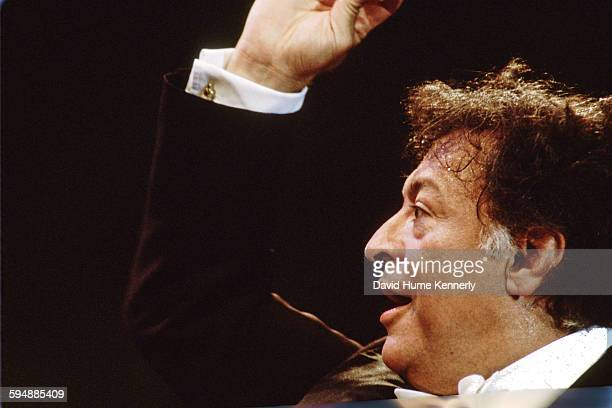 Zubin Mehta conducting the Los Angeles Philharmonic at The Three Tenors concert at Dodger Stadium July 16 1994 in Los Angeles The concert is...