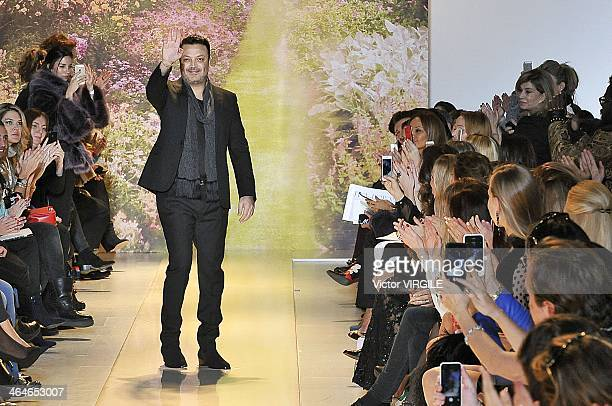 Zuhair Murad walks the runway during Zuhair Murad Prive show as part of Paris Fashion Week Haute Couture Spring/Summer 2014 on January 23 2014 in...