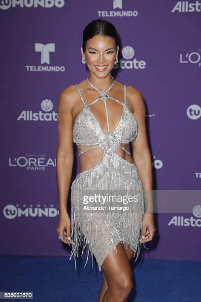 Zuleyka Rivera arrives at Telemundo's 2017 'Premios Tu Mundo' at American Airlines Arena on August 24 2017 in Miami Florida