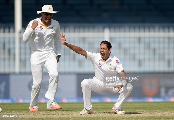 Zulfiqar Babar of Pakistan celebrates alongside captain MisbahulHaq after dismissing Samit Patel of England during day five of the 3rd Test between...