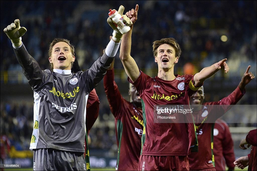 Zulte Waregem's goalkeeper Sammy Bossut and Davy De Fauw react after the Jupiler Pro League match between Club Brugge and Zulte Waregem on November 4, in Brugge, Belgium.