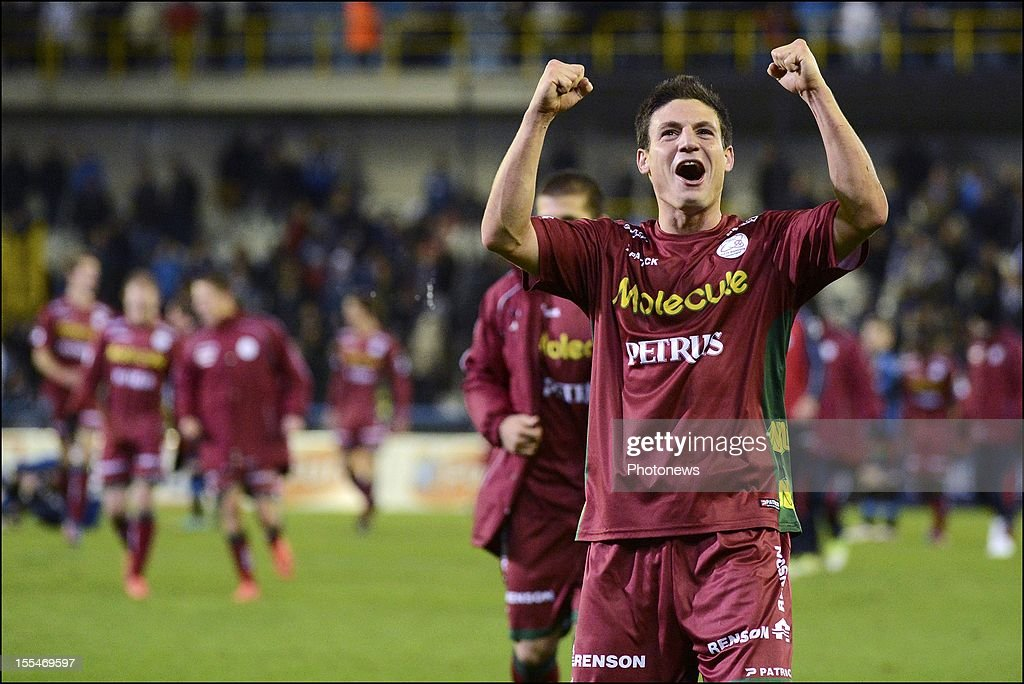 Zulte Waregem's Steve Colpaert reacts after the Jupiler Pro League match between Club Brugge and Zulte Waregem on November 04, in Brugge, Belgium.