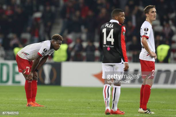 Zulte's Aaron Leya Iseka reacts at the end during the UEFA Europa League football match between OGC Nice vs SV Zulte Waregem on November 23 2017 at...