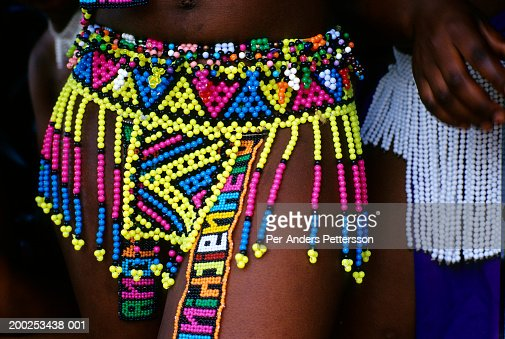 Zulu Girl Wears A Traditional Bead Skirt In Nongoma South