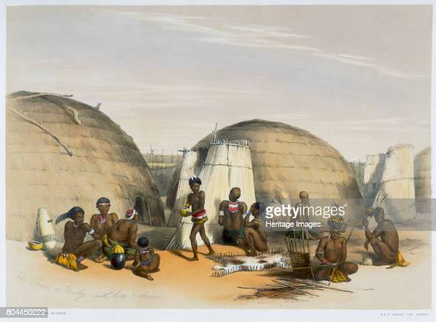 Zulu kraal at Umlazi with huts and screens 1849 Plate 21 from The Kafirs Illustrated by George French Angas Artist George French Angas