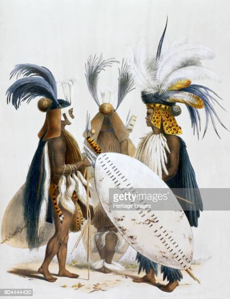 Zulu Soldiers of King Panda's Army' 1849 Plate 20 from The Kafirs Illustrated 1849 Artist George French Angas